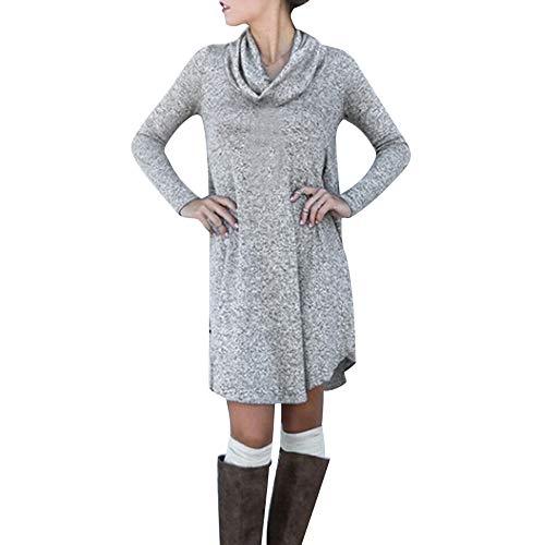 Yazidan Frau Mode Lange äRmel Kleid Rollkragen Gestrickt BeiläUfig Lose Kleider Sexy Winter T-Shirt Pure Farbe Solide Outfits Spielanzug Warm Overall Body KostüM Outwear(Grau,M)