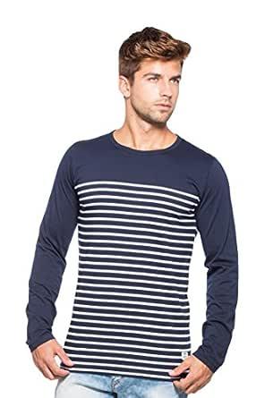 Alan Jones Clothing Men's Striped Cotton T-Shirt (Navy Blue, Small)
