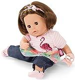 Götz 1916064 Cosy Aquini Flamingo Love Badepuppe - Puppe mit braunen Haaren, braunen Schlafaugen in...