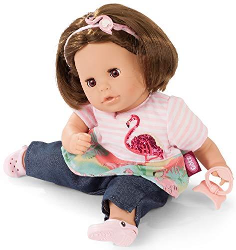Götz 1916064 Cosy Aquini Flamingo Love Badepuppe - Puppe mit braunen Haaren, braunen Schlafaugen in 7-teiligen Set - 33 cm Mädchen-Babypuppe (Puppe Mit Haar)