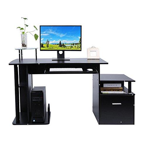 Computertisch Schreibtisch Bürotisch Arbeitstisch Büromöbel 3 Farben (Schwarz)