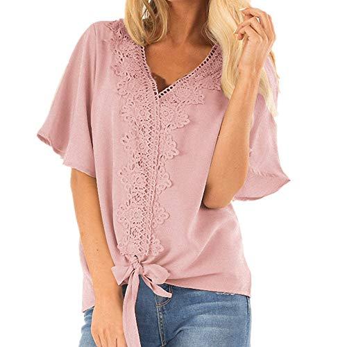 MERRYBLOUSE Damen Shirts Kurzarm Tunika Tops Rüschen Einfarbige Blusen Damen Sommer T-Shirt Kurzarm Oberteil Shirt Lässige Schaltflächen Hemd Bluse Tunika Top mit Taschen