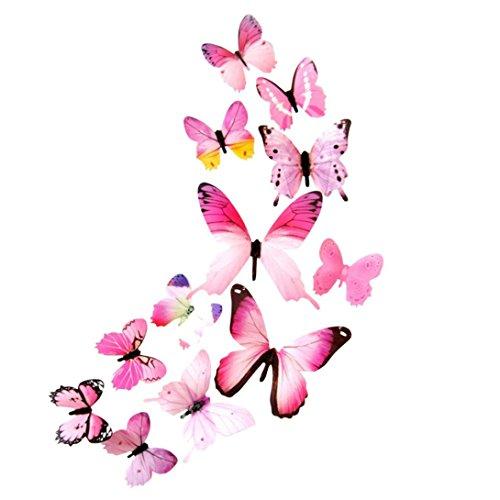 TIREOW 12 TLG 3D Wandtattoo Wand Aufkleber Schmetterlinge im 3D-Style, 12-Stück, Wanddekoration mit Klebepunkten zur Fixierung (Klebepunkten+ Magnet) (Rosa)