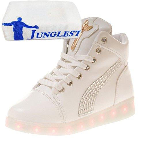 (Presente:pequeña toalla)Plata EU 40, de Carga moda Zapatos Fluorescencia LED Zapatillas Light Sneakers Deporte JUNGLEST® Glow Deportivos L