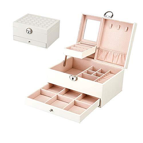 Mary home Leder Schmuck Box Korean Multi-Layer Large Capacity Jewelry Storage Box Multi-Function Schmuck Box Schmuck Organizer (Color: White Black),White
