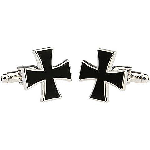 UM joyería Rodio Chapado Hombres cristiano Cruzar Camisa Gemelos Crucifijo, Negro Plata Dos Tono