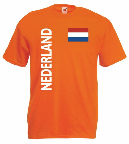 Fußball Trikot world-of-shirt Nederland/Holland Herren T-Shirt Trikot orange
