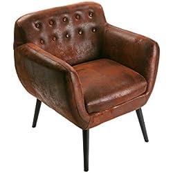 Versa - Sofa individual marrón envejecido