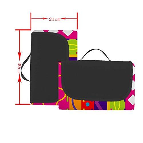 EUCoo 3D-Digitaldruck-Vollpolyester-Oxford-Tuchpicknickmatte/Strandmatte/Feuchtigkeitsmatte - Regenbogengeometrie(Mehrfarbig, 148x152cm)