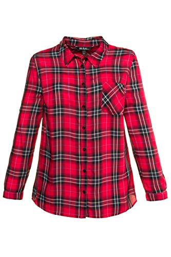 Ulla Popken Damen große Größen bis 64, Karo-Bluse in Leichter Qualität, Brusttasche & Langarm mit Manschetten rot 50/52 717621 51-50+