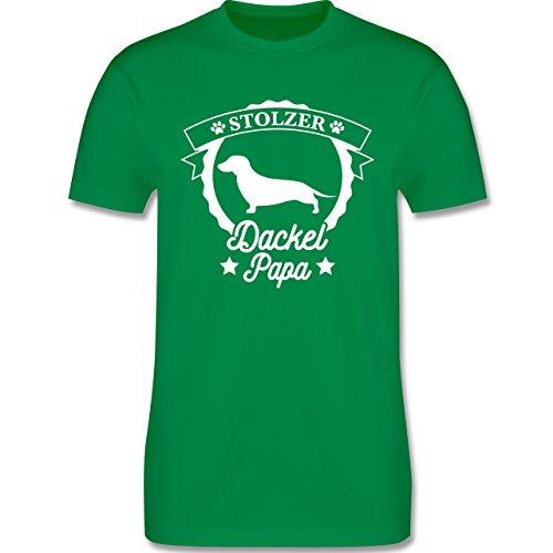 Shirtracer Hunde - Stolzer Dackel Papa - Herren T-Shirt Rundhals Grün