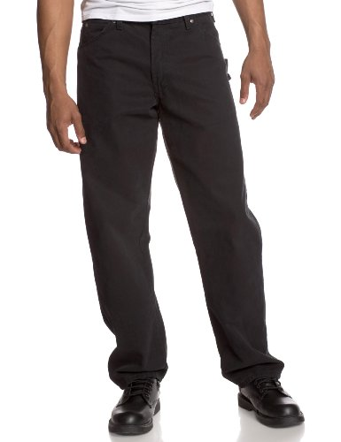 Denim Carpenter Jeans (Dickies 36in. X 30in. Rinsed Black Relaxed Fit Sanded Duck Carpenter Jeans DU336RBK)