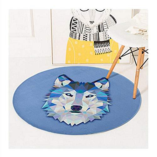 Asbjxny Geometrische Teppich Animal Print Runde Kinder Teppich Schlafzimmer Wohnzimmer Home Decor verdicken weichen Teppich rutschfeste Bodenmatte DGY618 (Animal-print Teppiche Kinder)