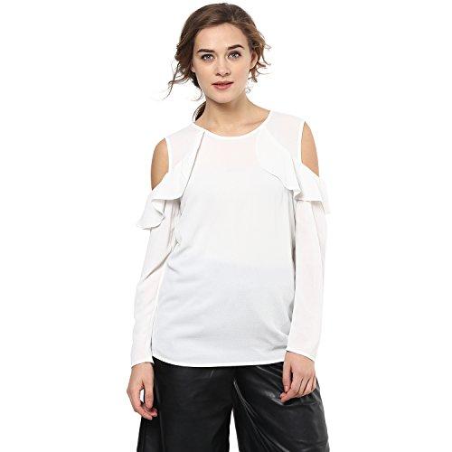 Femella Fashion's White Cold Shoulder Ruffle Top