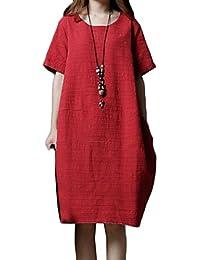GladiolusA Mujer Vestido De Lino Cuello Redondo Retro Túnica Holgado Vestido De Camisa con Bolsillos