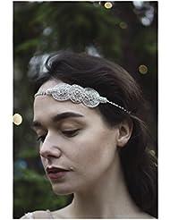 Silber Haarband mit Strasssteinbesatz Vintage 1920er Brautschmuck Ball Great Gatsby Flapper Deco Q62Stil der Zwanzigerjahre