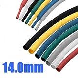 Hohe Qualität 1M 14.0mm 7 Farbe 2: 1 Polyolefin Schrumpfschlauch RohrschlauchWrap - Black