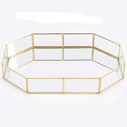advancethy Tablett 20x14.2x4.5cm Schmuck Ablageschale Glas Vintage Schmuck Dekoration Metall Verspiegelt Verzierten Nordischen Ins Gold für Schmuck Desktop Dekorative