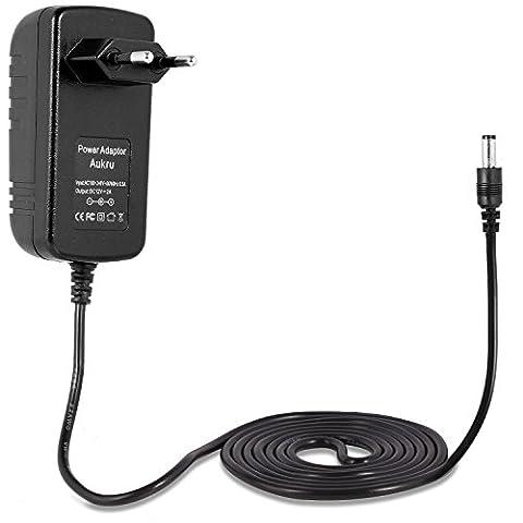 Aukru® Bloc d'alimentation adaptateur secteur 12V 2A 24W avec cordon d'alimentation prise UE pour ordinateur portable, imprimante, numériseur, routeur,télécopieurs, TFT, écran LCD et de nombreux appareils