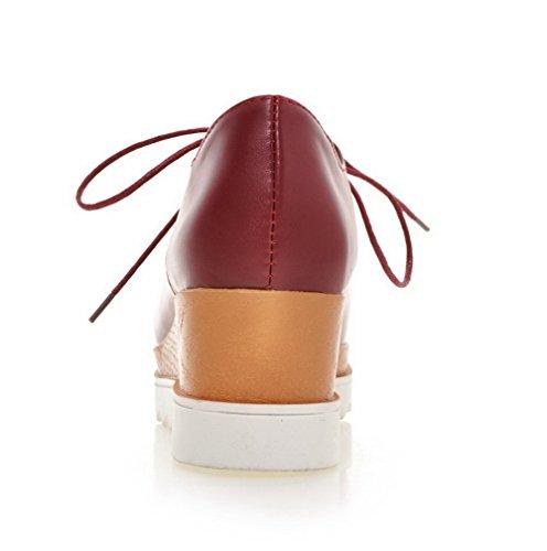 AgooLar Femme Matière Souple Carré à Talon Correct Couleur Unie Lacet Chaussures Légeres Rouge