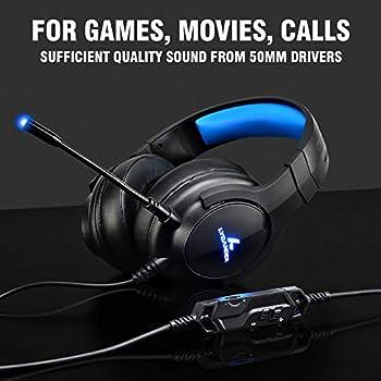 LYCANDER Cuffie da gioco con microfono e luce LED, ingresso 3,5 mm, per PC, PS4, Xbox One, Nintendo Switch e altro ancora, LGH-568