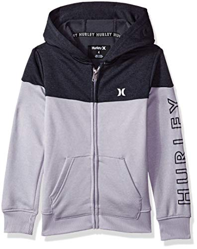 Hurley Boys' Big Solar Zip Up Hoodie, Grey Heather/Black, S