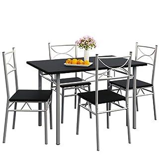 Deuba Ensemble Paul 5 pièces - 1 Table et 4 chaises - Salle à Manger - Couleur Noir