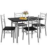 Deuba 5 tlg. Sitzgruppe Paul Schwarz I Esstisch mit 4 Stühlen I Für Esszimmer Küche und Balkon - Essgruppe Tisch Stuhl