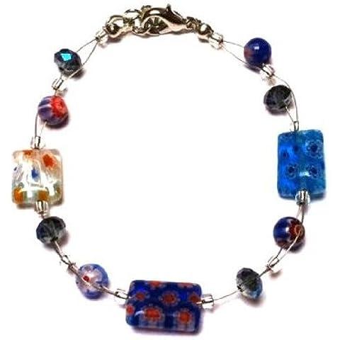 Chic-Net perle di Murano braccialetto di vetro blu colorful flowers rettangolo Glitter 18-20 cm moschettone nickel free