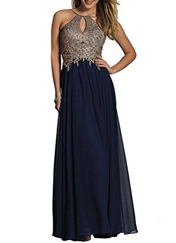 Cloverbridal Damen Abendkleider mit Gold Spitzen Applikationen Schlüsselloch Partykleider Navy Blau 40 (Schlüsselloch Blau)