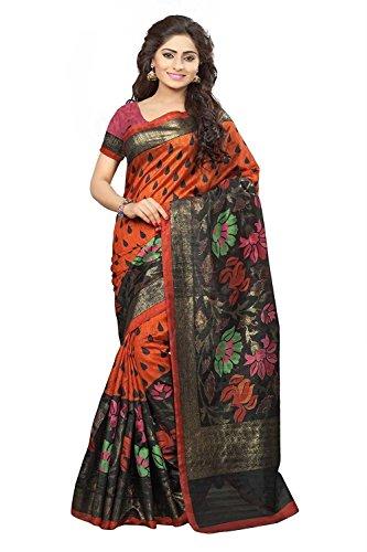DivyaEmporio Women\'s Rust Orange Bhagalpuri Art Silk Saree