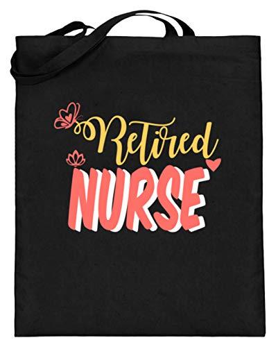 red Nurse - Krankenpfleger/-in in Rente - Jutebeutel (mit langen Henkeln) -38cm-42cm-Schwarz ()