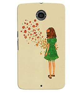 Printvisa Green Dress Girl Admiring Flowers Back Case Cover for Motorola Google Nexus 6