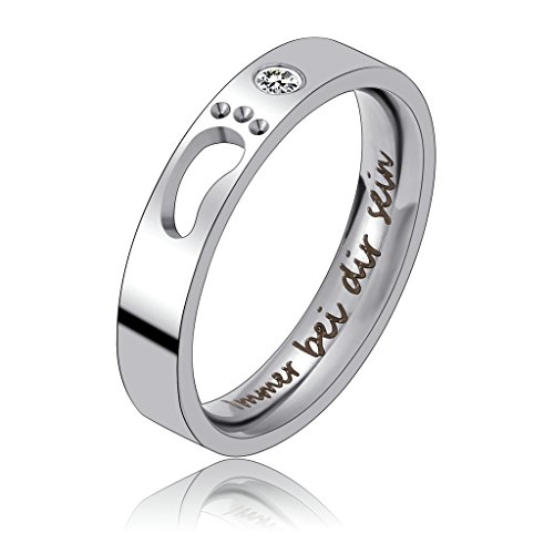 Bishilin 4MM Freundschaftsringe Freundinnen Edelstahl Ring Zirkonia Damen Ringe Titan Größe 54 (17.2)