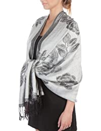 Sakkas Lightweight Two Tone Rose Floral Design Pashmina Feel Fringe Scarf/Stole/Wrap