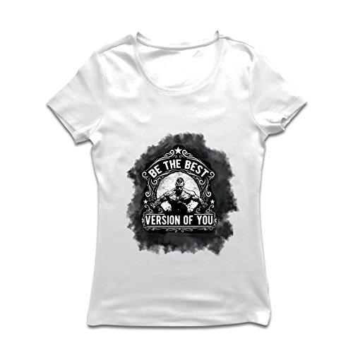 Frauen T-Shirt Sei die beste Version von dir selbst! - Training Sprüche, Bodybuilding, Gewichtheben, Muskelziele, Motivzitate (Medium Weiß Mehrfarben) (Spaß Training Kleidung Frauen)