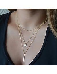 Oumosi - Collar multicapa, chapado en oro, diseño sencillo, con moneda