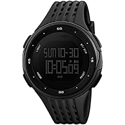 SKMEI Men's Sports 50M Waterproof Stopwatch Led Display Multifunctional Digital Wrist Watch -Black
