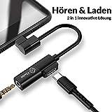 Kiwea USB Typ C auf 3,5-mm AUX Klinke- und Ladeadapter mit neuem Audio Chip und 1 Jahr Garantie für Huawei Mate/P20/P30/Mediapad 5/Xiaomi MI 8/MOTO 7/NUT PRO/Nokia 7/8