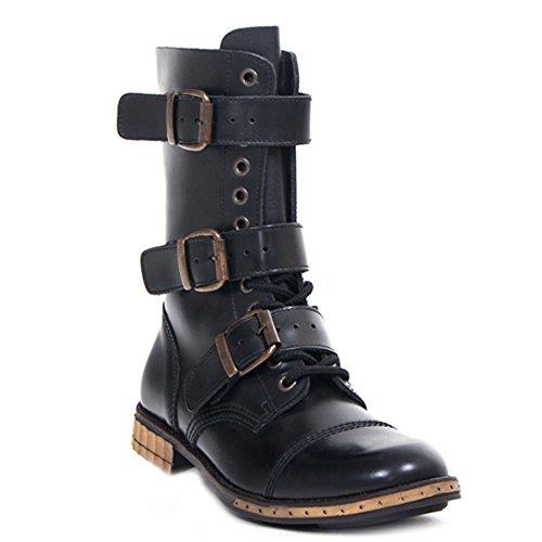 Boots & Braces - 12 Loch 3 Schnallen Steampunk Schuhe Gothik Ranger Schwarz