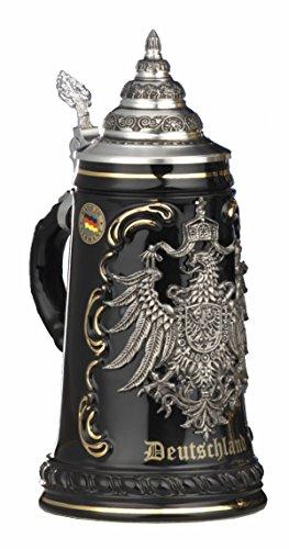 Jarra de cerveza alemana alemana negra con escudo de estaño, jarra 1 litro KI 415-SZA 0,5L Deutschland