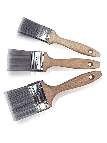 Lackierpinsel Pinsel Set 3-tlg. mit hölzernen Griff | 35 mm + 50 mm + 70 mm Profi Flachpinsel | Lackierpinsel mit Kunstborsten-Mischung