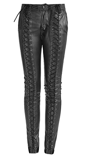 Pantaloni nero finta pelle a lacci frontale sulla lunghezza, Punk Rave nero Medium