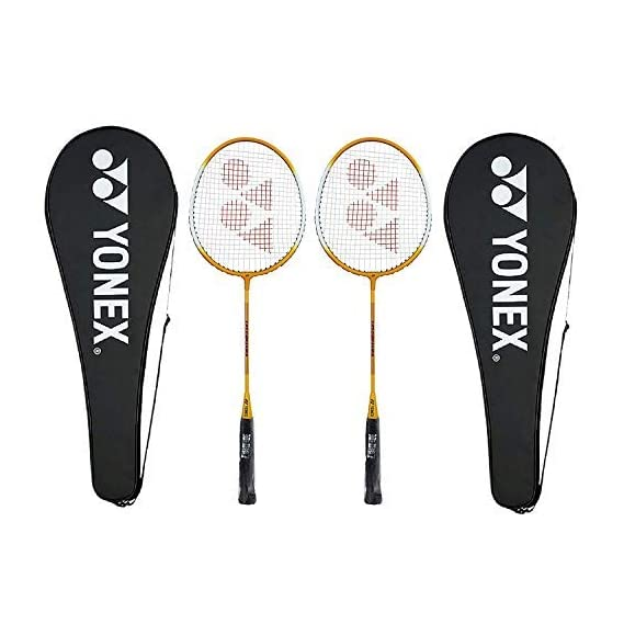 Yonex GR 303 Aluminum Blend Badminton Racquet with Full Cover, Set of 2 (Yellow)