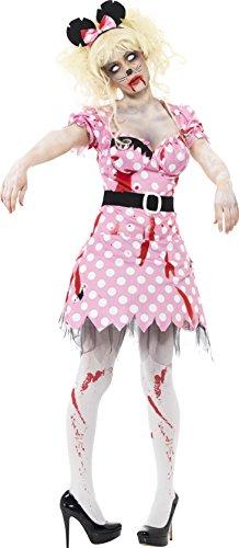 Smiffys, Damen Zombie-Maus Kostüm, Kleid, Gürtel und Haarband, Größe: S, 41027 (Minnie Maus Kostüm Schuhe)