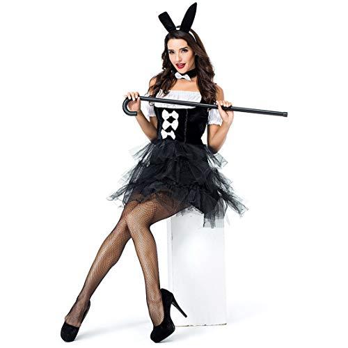 HOOLAZA Frauen-schwarzes Häschen-Mädchen-Kaninchen-Kostüm Hübsches Tutu-Kleid 3 Stücke