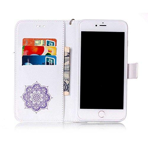 iPhone 7 Plus Coque ( Noir ), Bling Cristal Strass Cuir Etui Rabat Style Portefeuille Case Avec Carte Slots pour Apple iPhone 7 Plus 5.5 inch Avec Windbell Embossage Motif blanc violet