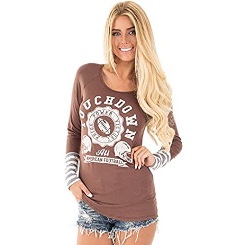 Bluestercool Femmes Pull Sweatshirt à manches longues col rond Tops Chemisier (M, café)