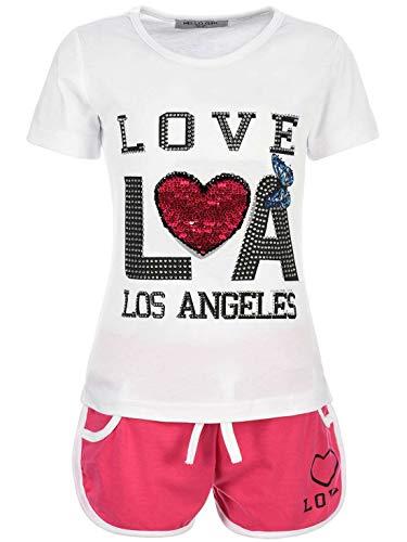 Kinder Mädchen Sommer Set T-Shirt Shorts Hot Pant Kurze-Hose Kurzarm Glitzersteinchen 20023 Weiß 104