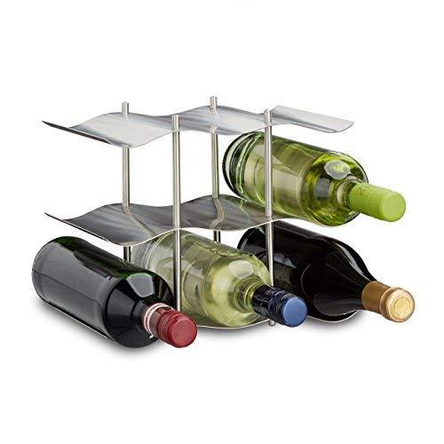 Relaxdays Weinregal Edelstahl für 9 Flaschen, Modernes Metall Design, Flaschenregal stehend, HBT 22 x 27 x 16,5 cm, silber -